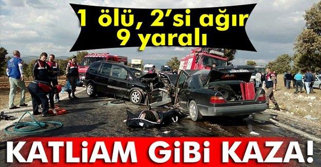 Uşak'ta trafik kazası 1 ölü, 9 yaralı