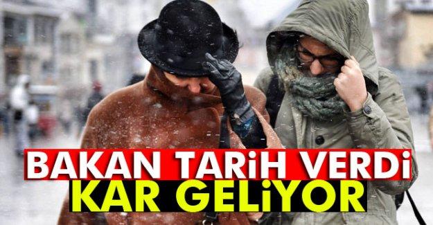 Bakan Tarih Verdi! Kar Geliyor!