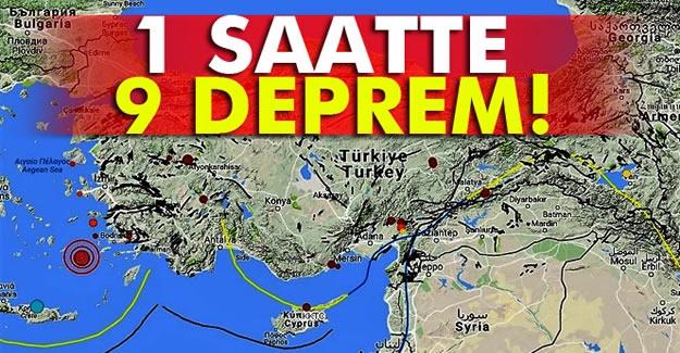 Ege'de 1 saatte 9 büyük deprem