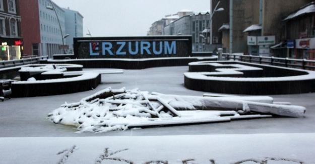 Erzurum'a güne karla uyandı
