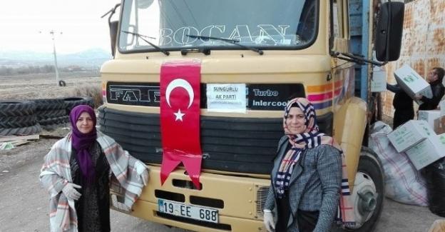 AK Partili kadınlardan Halep'e yardım