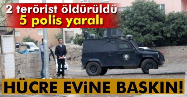 Hücre evine baskın: 2 terörist öldürüldü, 5 polis yaralı