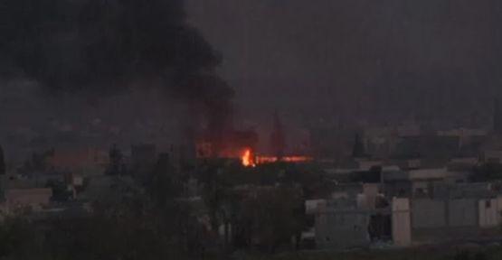 IŞİD mevzileri hem karadan hem havadan vuruldu (video)