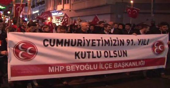 Beyoğlu'nda ''cumhuriyet yürüyüşü''...